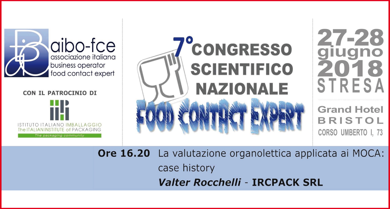"27 giugno – 7° Congresso Scientifico Nazionale ""FOOD CONTACT EXPERT"""